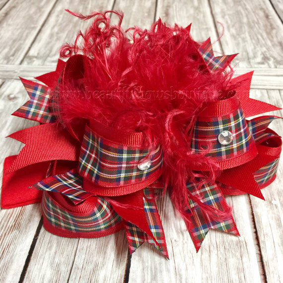 Red Tartan Plaid Over the Top Hair Bow Scottish