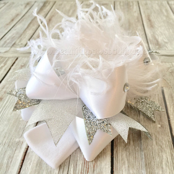 Pageant Hair Bow White Silver Wedding Headband
