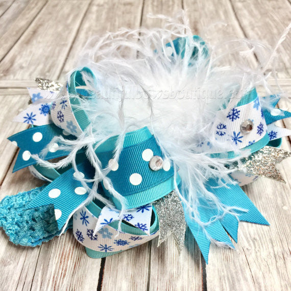 Teal Blue Snowflake Hair Bow or Headband Set