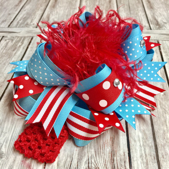 Dr. Seuss Over the Top Bow Red and Turquoise