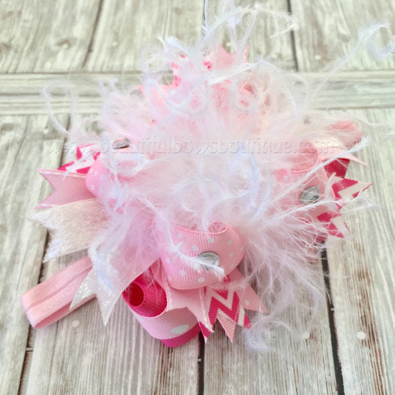 Over the Top Newborn Headband White and Pink Infant
