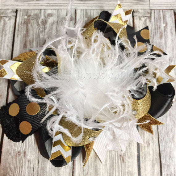 Buy Black and Gold Over the Top Hair Bow Online