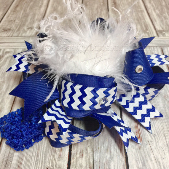 School Uniform Bow Royal Blue and White