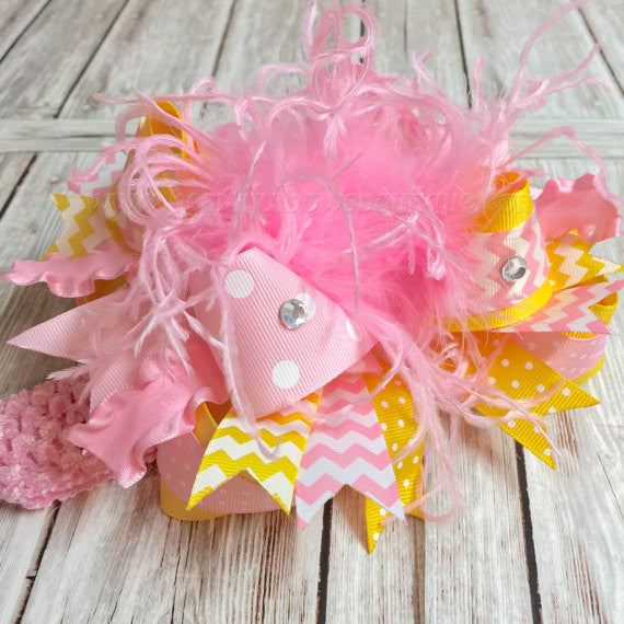 Smash Cake Over the Top Bows Pink and Yellow