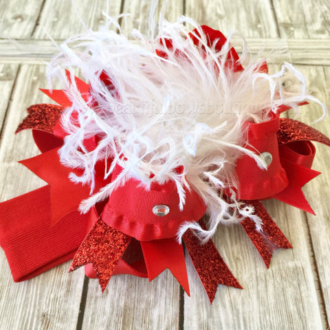 Red Santa Hat Bow or Baby Headband