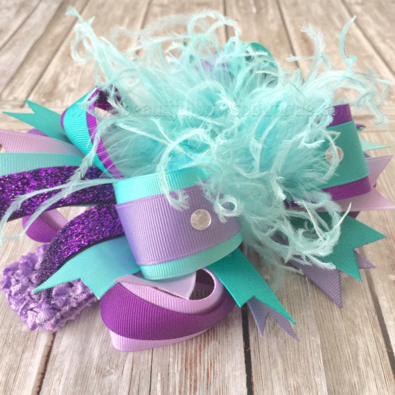 Buy Over The Top Hair Bow Light Purple Aqua And Teal