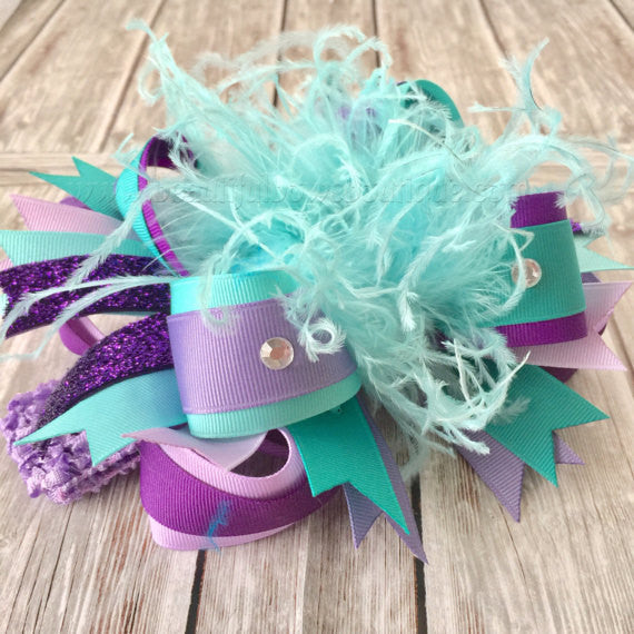 Over the Top Hair Bow Light Purple Aqua and Teal