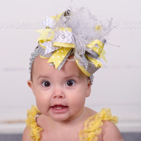 Grey and Yellow Over the Top Hair Bow Clip or Headband