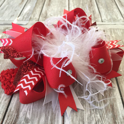 Large Red and White Feather Hair Bow Toddler Girl
