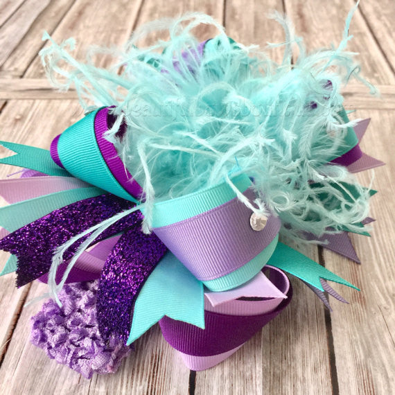Buy Light Purple Teal and Aqua Over the Top Hair Bow,Purple and Aqua Blue Over the Top Headband,Aqua and Lilac Birthday,Purple and Turquoise Bow Online
