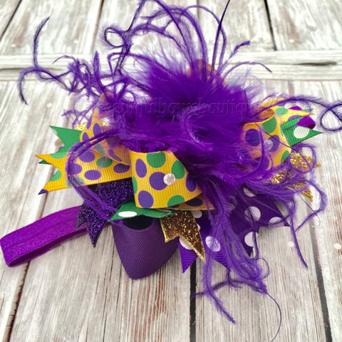 Buy Newborn Mardi Gras Bow Headband,Small Mardi Gras Over the Top Hair Bow,Purple Gold and Green Baby Headband,Baby Girl Mardi Gras Bows,Mini Online