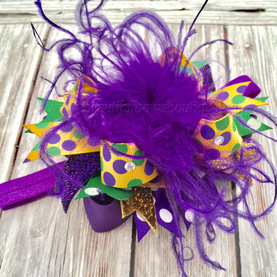 Mini Mardi Gras Bow Headband Infant