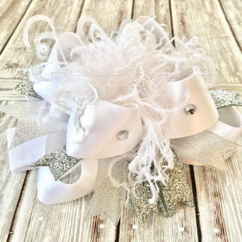 Buy Pageant Hair Bow White Silver Wedding Headband Online
