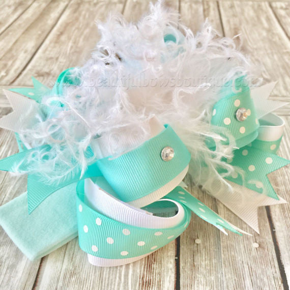 Buy Over the Top Hair Bow Mint Aqua Online