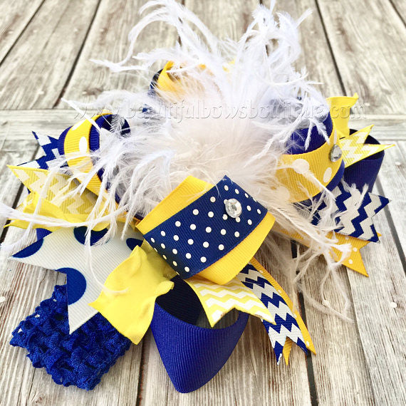 Big Boutique Feather Bow Royal Blue Yellow Gold