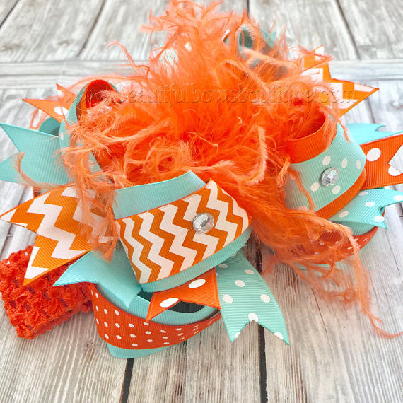 Boutique Over the Top Hair Bow Mint Aqua Orange