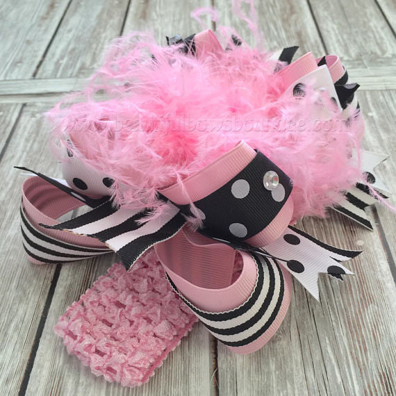 Buy OTT Black and Pink Big Bow Headband,Over the Top Bows Pink and Black,Birthday Girl Hair Bows,Cake Smash Headbands,Over the Top Bows Pink Online