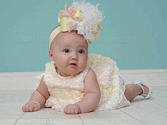 Baby Bow Headband Pale Yellow Pink