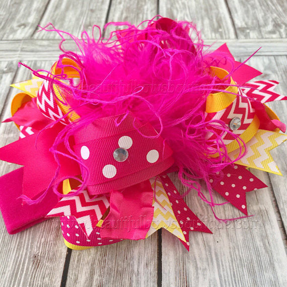 Sunshine Birthday Bow Headband Pink and Yellow