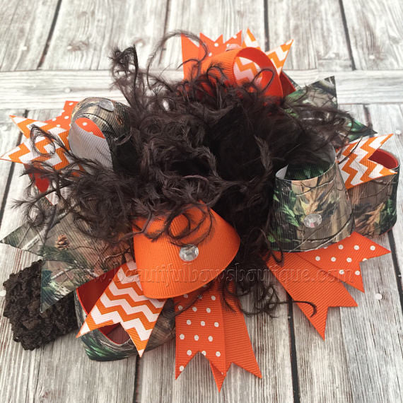 Orange Camo Hair Bow Realtree Camouflage