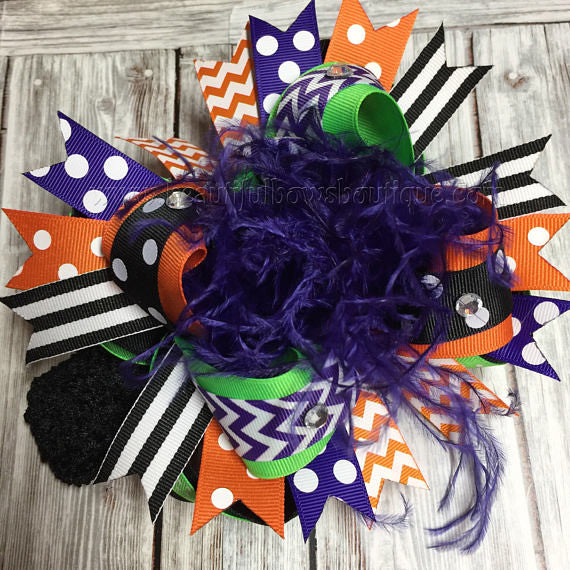 Halloween Over the Top Hair Bow Witch Colors