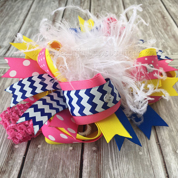 Big Feather Minion Birthday Bow Pink Yellow Blue