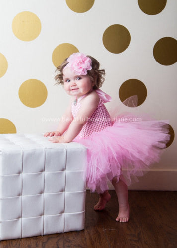 Full Tutu Dress Set Pink Shabby Flower Headband