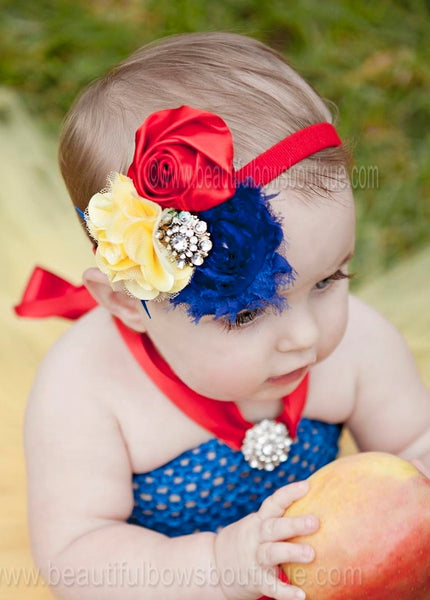 Fancy Snow White Royal Blue and Yellow Baby Tutu Dress Up Costume (TUTD) - Beautiful Bows Boutique