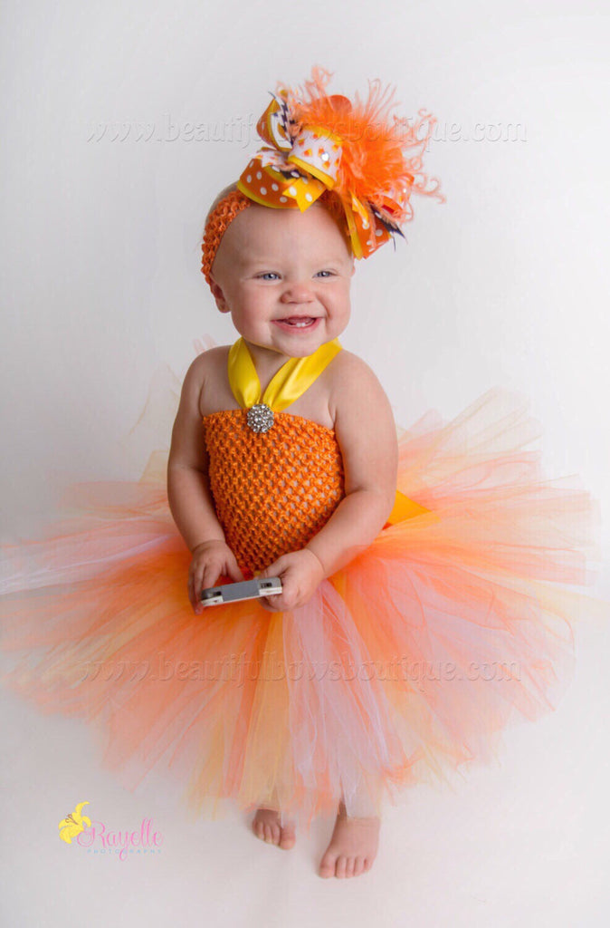 6fa8a752e Fall Candy Corn Tutu Dress For Baby Toddler Sc 1 St Beautiful Bows Boutique