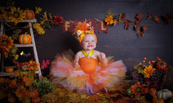 Fall Candy Corn Tutu Dress for Baby Toddler