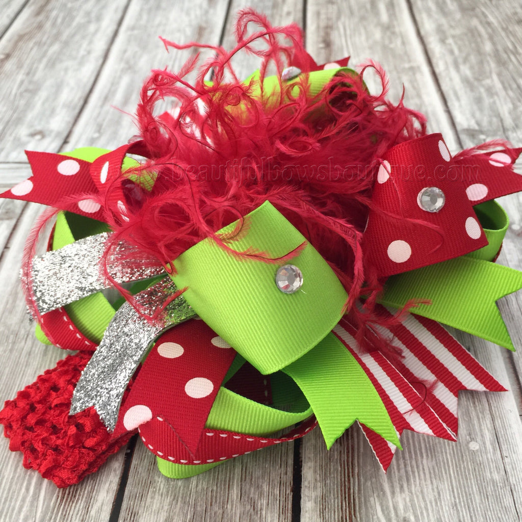 Christmas Over the Top Bow Grinch Green and Red