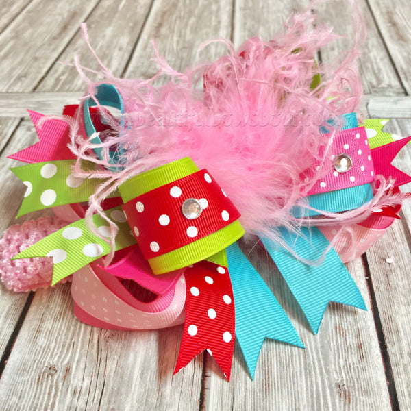 Over the Top Christmas Hair Bow Pink Red Green