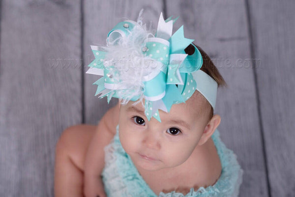 Aqua Blue Baby Girl 1st Birthday Romper