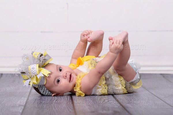 Baby Girl 1st Birthday Outfit Grey and Yellow
