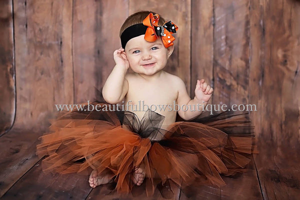 Black and Orange Baby Tutu and Headband Halloween Tutu Toddler