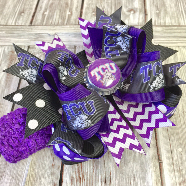 Texas Christian Hair Bow or Headband, Texas Christian HairBow,Texas Christian University Baby Girl,Baby Headbands,Newborn Infant Headband