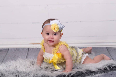2 piece Gray Yellow Petti Romper Set Baby Girl