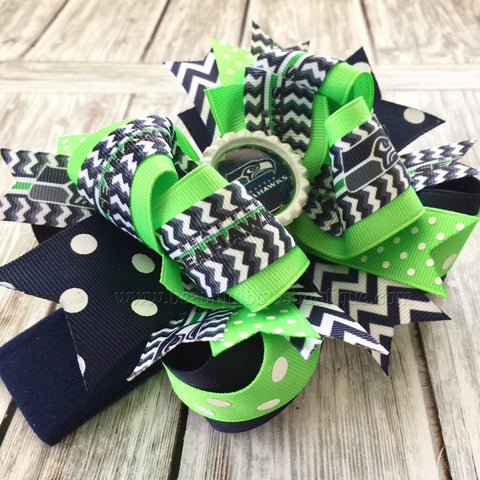 Buy Seattle Seahawks Baby Headband,Seahawks Hairbow,NFL Baby Headband,Newborn Headbands,Infant Headbands,Blue and Green Bows,Seahawks Hair Bow Online
