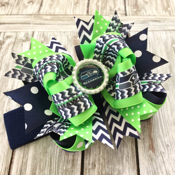 Seattle Seahawks Baby Headband,Seahawks Hairbow,NFL Baby Headband,Newborn Headbands,Infant Headbands,Blue and Green Bows,Seahawks Hair Bow