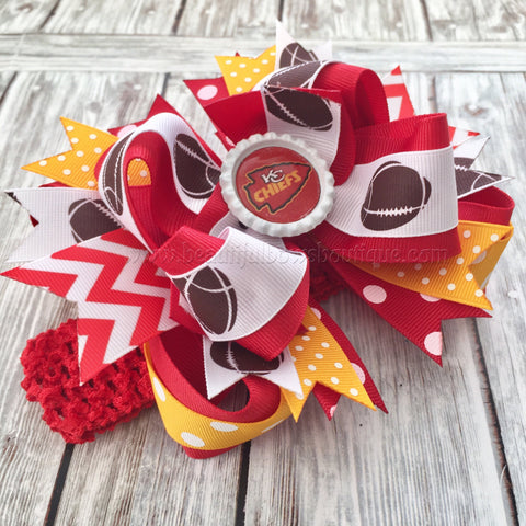 Kansas City Chiefs Hair Bow or Headband,Chiefs Hair Bow,Kansas City Chiefs Baby Girl,Baby Girl Headbands,Newborn Infant Headband,NFL Bows
