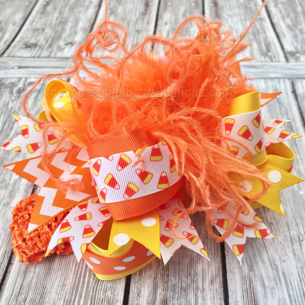 Orange and Yellow Candy Corn Hair Bow,Fall Hair Bows,Halloween Baby Headband