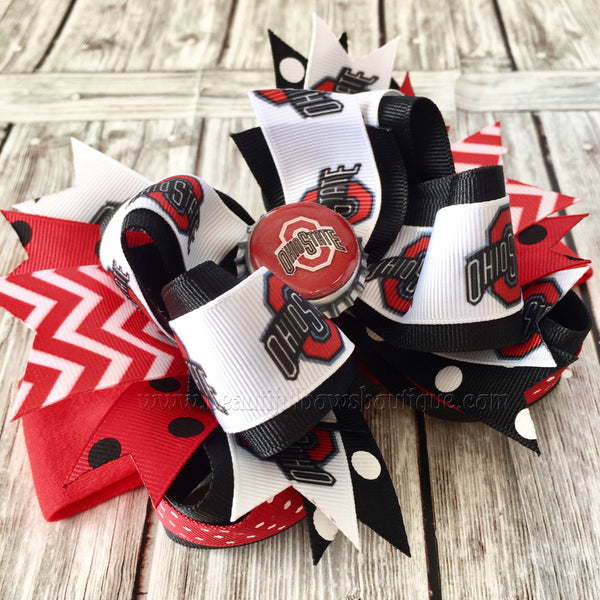 Ohio State Baby Headband,Ohio State Hairbow,NCAA Baby Headband,Newborn Headbands,Infant Headbands,Sports Bows,Ohio State Baby Girl Headband