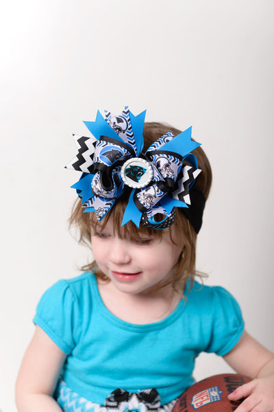 Buy Carolina Panthers Baby Headband Bow,Panthers Hair Bow,Carolina Panthers Baby Girl,Baby Girl Headbands,Newborn Infant Headband,NFL Baby Bow Online