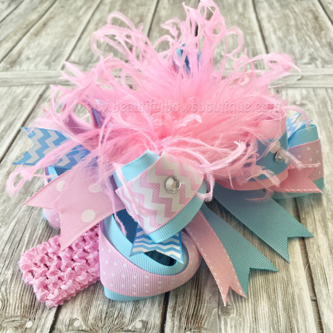 Pink and Blue Over the Top Bow,Blue and Pink Baby Headband,Baby Headbands,Pastel Pink and Blue Hair Bow,Feather Bow Pink and Blue,OTT Bows