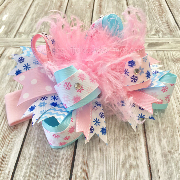 Pink and Blue Snowflake Hair Bow,Winter Wonderland Over the Top Hair Bow,Snowflake Hairbow,Girls Winter Wonderland Birthday Bow Headband