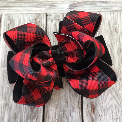 Red Buffalo Plaid Hair Bow, Buffalo Plaid Baby Headband Hair Clip Stacked