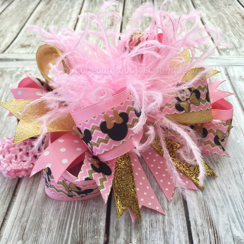 Buy Pink and Gold Minnie Mouse Over the Top Hair Bow,Minnie Hair Bow Pink and Gold,Baby Headband,Baby Headbands,Minnie Birthday,Mouse Birthday Online