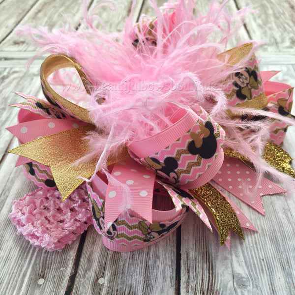 Pink and Gold Minnie Mouse Over the Top Hair Bow,Minnie Hair Bow Pink and Gold,Baby Headband,Baby Headbands,Minnie Birthday,Mouse Birthday