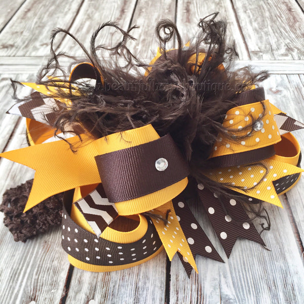 Brown and Mustard Hair Bow,Huge Over the Top Hair Bows Brown and Gold
