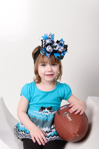 Carolina Panthers Baby Headband Bow,Panthers Hair Bow,NFL Bows